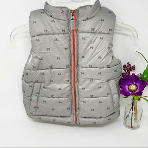 Carters Girl Puffer Vest Silver Gray Bows 2T NEW